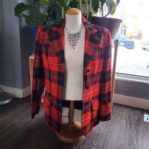 Highland Queen Red Plaid Blazer Jacket